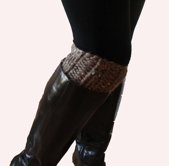 Knit Boot Cuffs Taupe Brown Chunky Ribbed, On Sale for 18.00