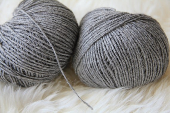 Yarn Merino Alpaca Acrylic in Grey, 2 Skeins, 382 yards