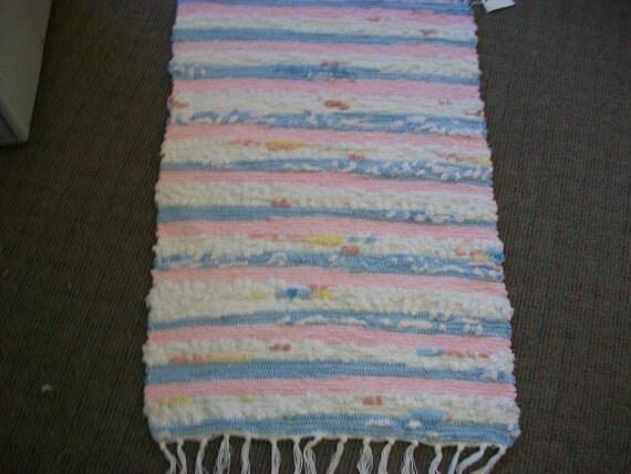 Rag rug pink white blue yellow woven chenille south dakota made