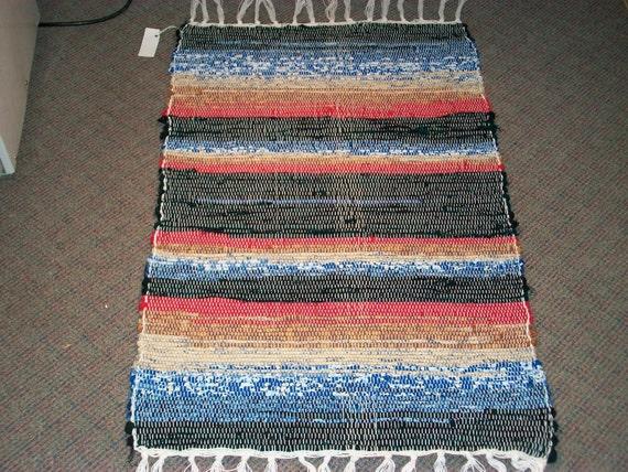 red blue tan multicolored blended woven  rag rug  south dakota made