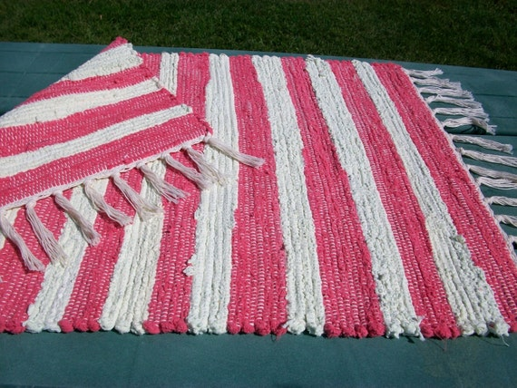 Hot pink and citrus yellow or apple green woven chenille rag rug  south dakota made