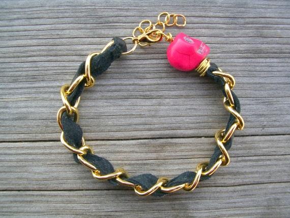 Black Leather Bracelet - Pink Skull