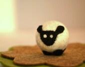 Needle Felted-Tiny Black and white Sheep