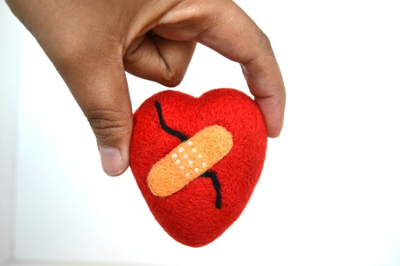 Needle Felted Broken Heart with Band aid