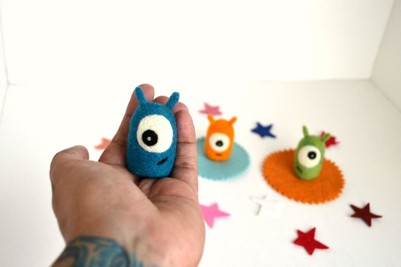 Needle Felted Aliens/Monsters Set- Natural Toys