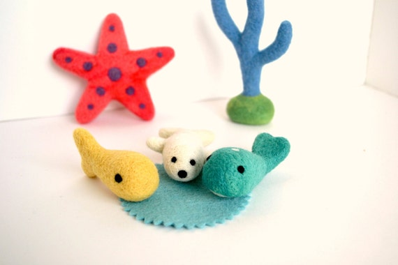 Needle Felted Sea Life Play Set- Natural Toys
