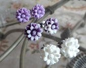Purple Haze Stud Earrings Set - Three Pairs Mini Flowers in Solid Purple, Tie Dye Purple, and White Nickel Free Titanium Posts