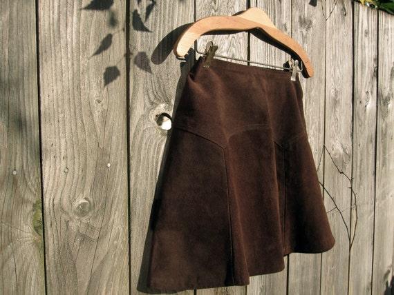 Mini Skirt, Vintage Brown Suede Skirt