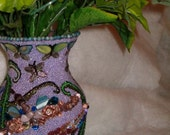 Beaded Dragonfly Vase Dualing Dragonflies a mosaic of glass beads and lavender seeds beads