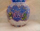 Blue Glass Vase  pink &  white  mosaic with clear crystal beads, pink beads and pearls