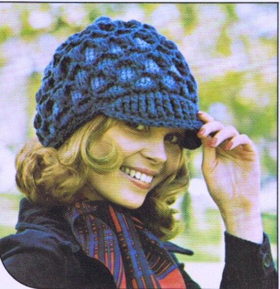 Peaked Cap Knitting Pattern : Womens Hat Pattern Peaked Hat Vintage Crochet Pattern