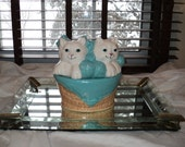 Vintage Painted Ceramic Cookie Jar of Two Kittens' Knittin with well developed Patina with an  Aqua Blue and White Color Palette