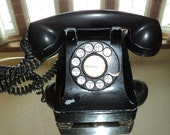 Antique Art Deco Style Phone,  Western Electric Telephone made of black Bakelite plastic in somewhat working condition, needs to be restored