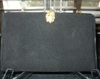 Vintage Elegant Understated Black Silk Formal Evening Handbag with chain link handle, A Timeless Classic