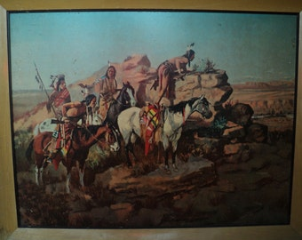 ON THE LOOKOUT,  Vintage Southwestern Style Art Work of Native Americans in a desert setting, reminiscent of Russell and Remington art