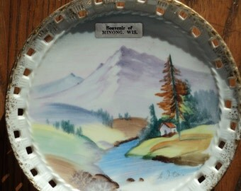 Retro Decorative Wall Plate,  Hand painted Landscape Scene painted on a Plate  from Minong, Wisconsin depicting mountains and stream