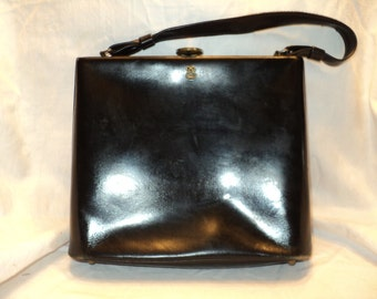 Vintage Black Leather Hand Bag Purse, Timeless Classic Black Leather Handbag  with Brass Clasp Opening and  Brass Studs on Bottom