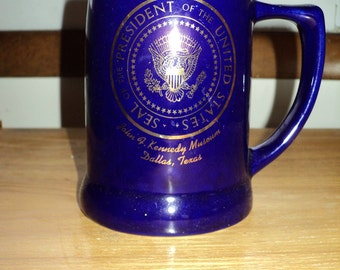 Vintage JFK PRESIDENTIAL MUG, Colbalt Blue Historical Souvenir from The John F Kennedy Museum in Dallas, Texas with the Presidential Seal