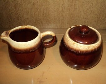 THE REAL McCOY, Vintage Brown and White Glazed Ceramic Cream and Sugar Set Very Good Condition with McCoy USA Stamp, Rustic Americana Style