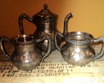 Vintage Tea Service with Engraved Letters, Stamped Quadruple Silver plated  Service Set  with Well Developed Patina