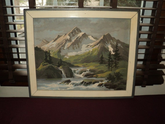 Vintage Paint by Number Mountain Scene