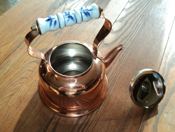 COPPER KETTLE TEAPOT with Blue and White Porcelain Handle and Knob
