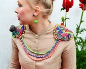 """Colorful neon decorative shoulder pads with 3D bird """"Whispers of Whiskered Pitta"""" - READY TO SHIP"""