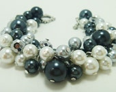 Pearl Braclet, White, Gray, and Black Cluster Bracelet, Chunky Pearl Bracelet, Bridal Pearl Jewelry, Black and White Bridesmaids Jewelry