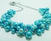 Turquoise Pearl Necklace, Turquoise/Aqua Cluster Necklace, Turquoise Chunky Bridesmaid Necklace, Pearl Cluster Necklace, Turquoise Necklace
