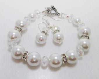 White Pearl Bracelet and Earrings set, White Bridal Jewelry, White Pearl Bracelet, Bridesmaid Jewelry, Crystal Jewelry, White Pearl Bracelet
