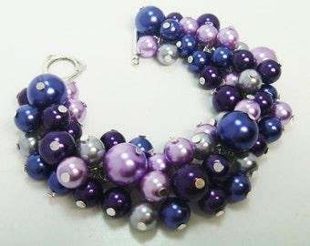 Navy Pearl Bracelet with Purple, Lilac  and Gray Bridal jewelry, purple wedding bracelet, chunky bracelet, pearl bracelet, cluster bracelet