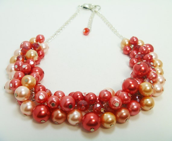 Cluster Pearl Necklace -  Shades of coral and firery red crystals cluster summer 2012 necklace- Hawaiian Fantasy - OOAK