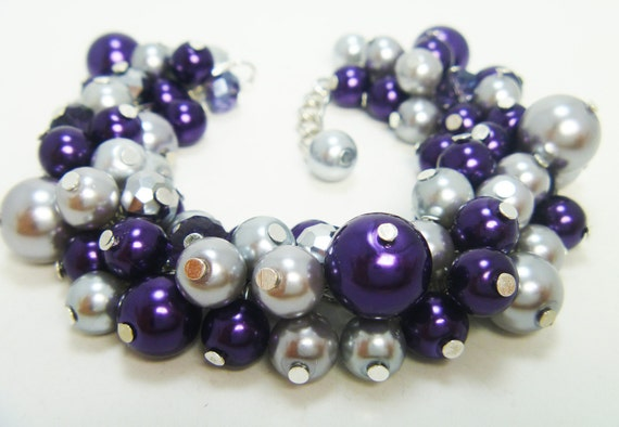 Pearl Bracelet, Purple And Gray Pearl Cluster Bracelet, purple bridal jewelry, purple and gray wedding combo, purple chunky pearl bracelet