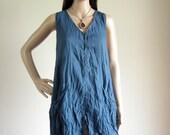 Sleeveless button front shirt dress (D7) : cotton blue