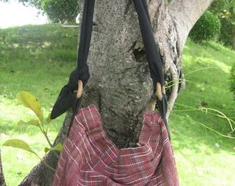 Hand woven cotton Fabrics Hip/ Shoulder bag 5 moroon