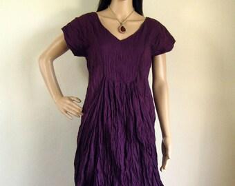 Short Sleeve Deep purple V neck dress (D12) : cotton violet