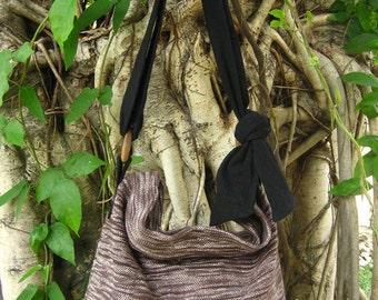 Hand woven cotton Fabrics Hip/ Shoulder bag 13 brown white stripe