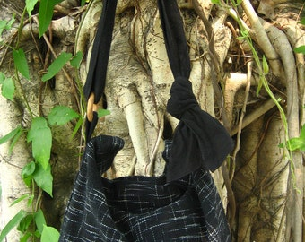 Hand woven cotton Fabrics Hip/ Shoulder bag 14 black Galaxy