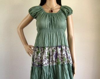 Short Sleeve sundress eco sumer dress (D13) : cotton spring flower teal green