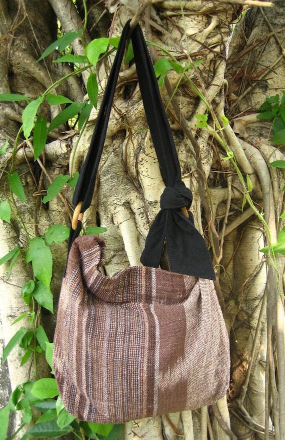 Hand woven cotton Fabrics Hip/ Shoulder bag 15 chocolate brown stripe