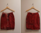 VINTAGE red, acid-wash, denim, high-waist, mini skirt