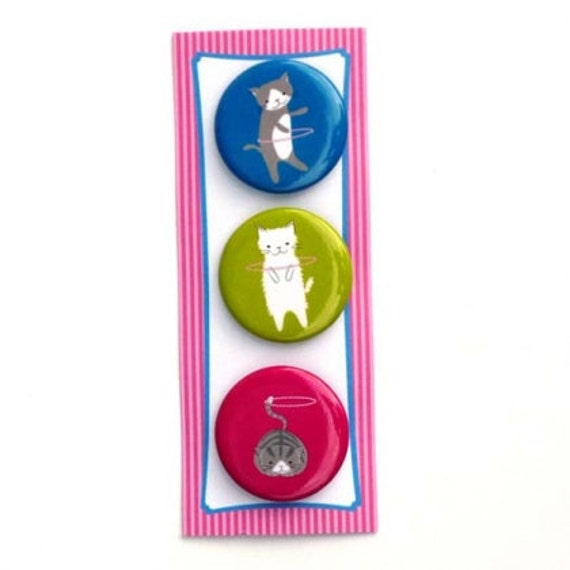 Sale 50% Off -- Adorable Cats Hoop Troupe BUTTON PACK