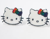 Hello Kitty with Rainbow Bow Earring by Enrah
