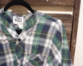 SALE Vintage Woolrich Plaid Night Shirt Cotton Small/Medium (WAS 15)