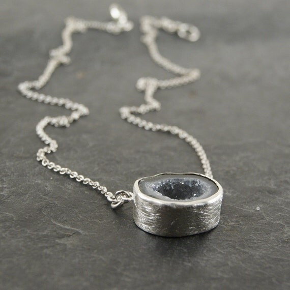 RESERVED...One of a Kind - Light Blue Geode Necklace in Sterling Silver