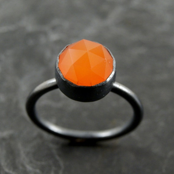 RESERVED...Bright Orange  Chalcedony Ring in Oxidized Sterling Silver