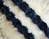 1/2 Yard Navy PETITE Flower Shabby Rose Trim