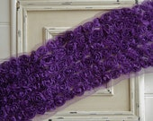 1 Yard PURPLE 6 Row Shabby Chiffon Rose Trim - Rose Bows