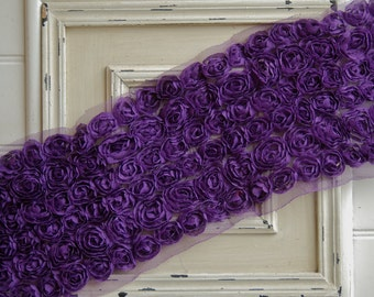 1/2 Yard PURPLE 6 Row Shabby Chiffon Rose Trim - Rose Bows