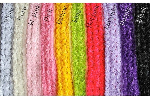 5 Yards Chiffon 6 ROW Shabby Rose Trim - 12 Colors to Choose From